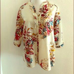 Button Down Floral Blouse